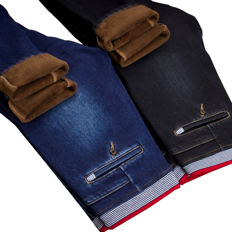 Mens Winter Stretch Thicken Jeans with Warm Fleece Comfortable and breathable Drawstring Denim Jean Pants Trousers Size 28-38 2017 mens winter stretch thicken jeans warm fleece high quality denim biker jean pants brand thick trousers for man size 28 40