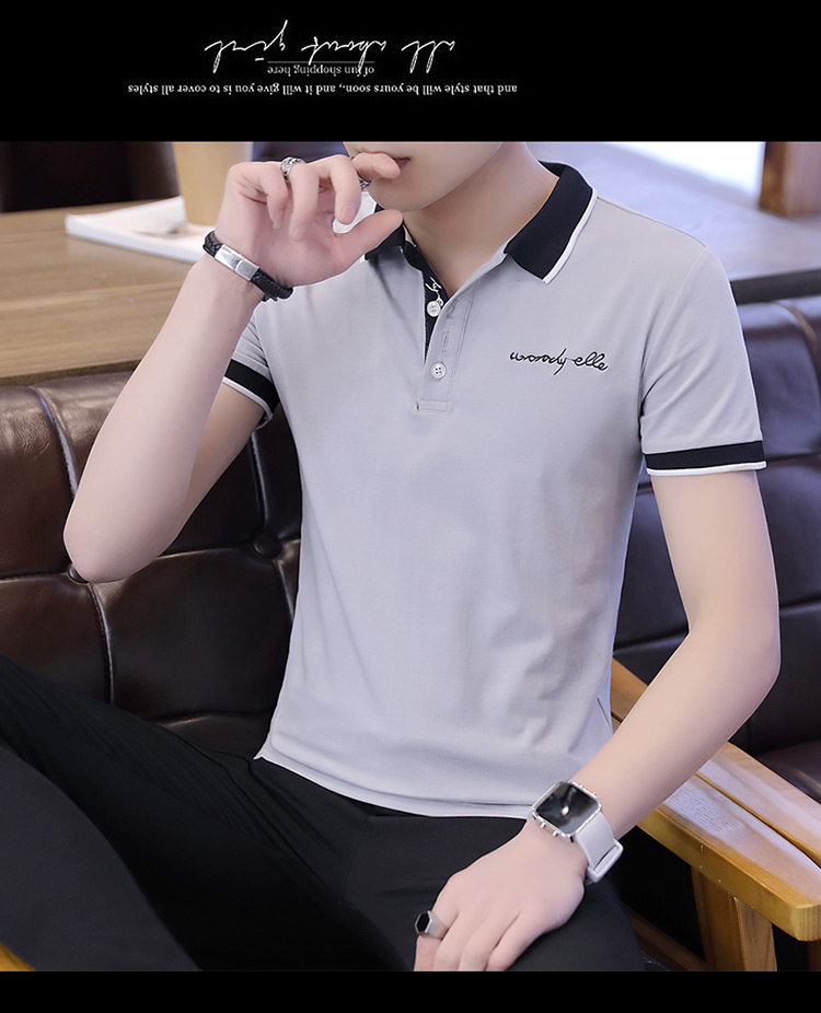 2019 men splicing t-shirts with short sleeves Comfortable in summer youth leisure lapel t-shirts 27