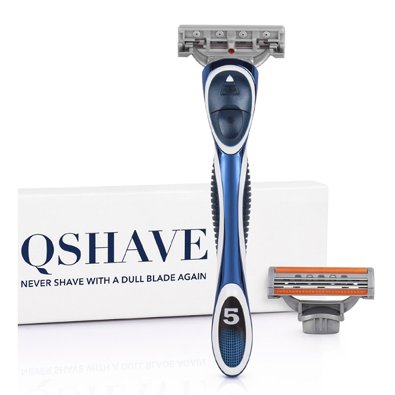 QSHAVE Orange Series 3-Layer USA Blade Manual Men Shaving Razor It With 2 Pieces X3 Blade QSHAVE Name Engraved Service Provided