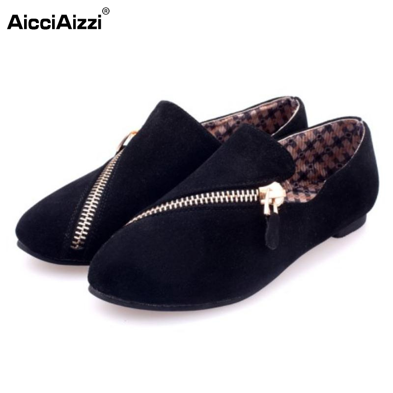 New Fashion Woman Flats Shoes Round Toe Zipper Shoes Women British Style Vintage Shoes Female Daily Leisure Footwear Size 35-39