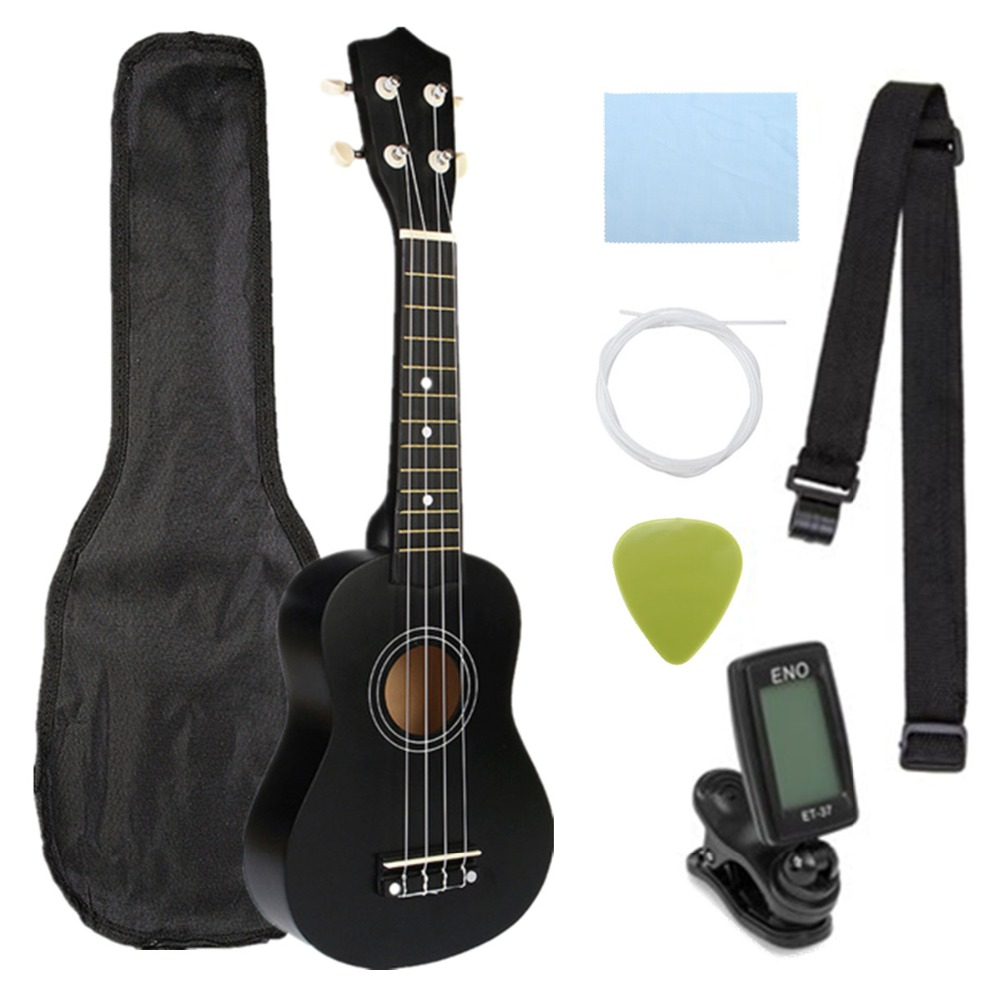 Ukelele Combo 21 Ukulele negro Soprano 4 cuerdas Uke Hawaii bajo cuerda Musical instrumento Kits + sintonizador + cadena + correa + bolsa