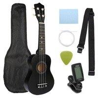 Ukulele Combo 21 Ukulele Black Soprano 4 Strings Uke Hawaii Bass Stringed Musical Instrument Set Kits+Tuner+String+Strap+Bag