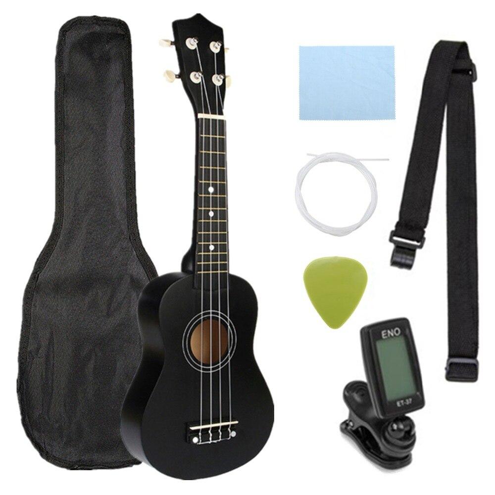 Ukulele Combo 21 Ukulele Schwarz Sopran 4 Strings Uke Hawaii Bass Saiten Musical Instrument Set Kits + Tuner + String + gurt + Tasche