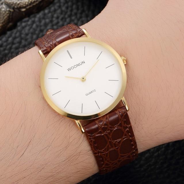 b4fb98d2086 2018 Simplicidade Elegante Relógios Homens Clássico Relógio 2 Ponteiro  Relógios de Quartzo Couro Relógios Ultra Finos