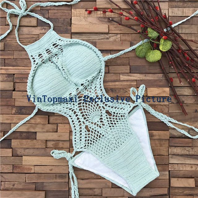 Lady Hollow Out Trikini Handmade Crochet High Neck One Piece Suits