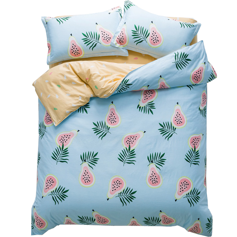 Fashion style tropical fruit print bedding sets Twin Single Queen size 100%cotton duvet cover bedsheet Random Cut pillowcasesFashion style tropical fruit print bedding sets Twin Single Queen size 100%cotton duvet cover bedsheet Random Cut pillowcases