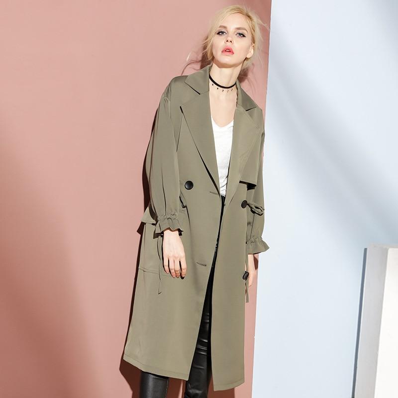 2018 Autumn Women   Trench   Coat Casacos Feminino Wide Lapel Women Long Coat Casual Tops Women Outwear Loose   Trench   Coat
