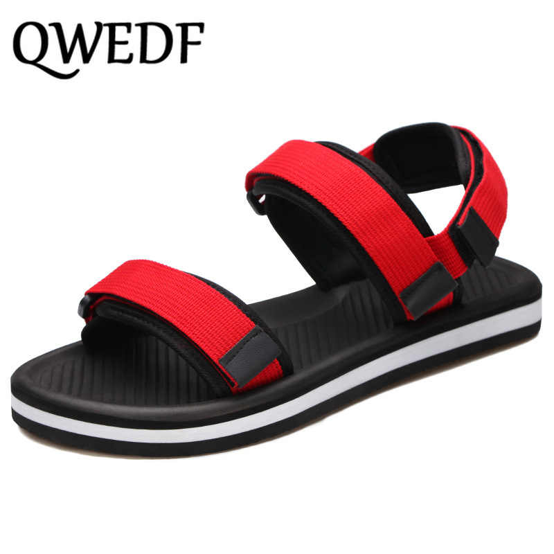 QWEDF Sandals men's summer 2019 new couple Roman beach shoes anti-slip sandals and slippers casual male drag SC-42