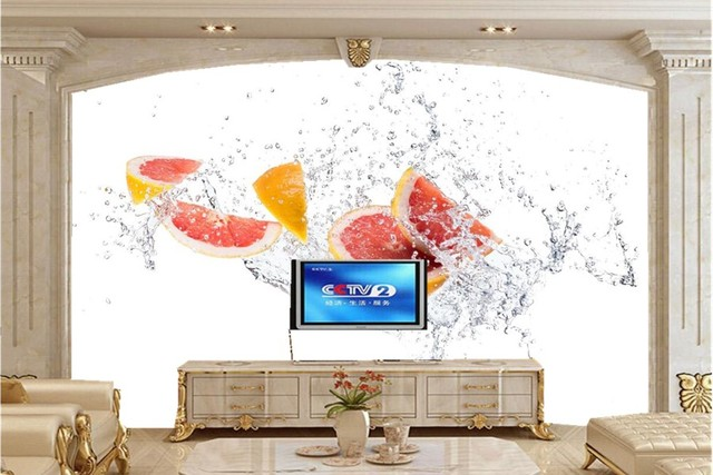 Custom Citrus Water Spray Food Wallpaper Modern Wall Covering,coffee Shop  Restaurant Dinig Room Waterproof