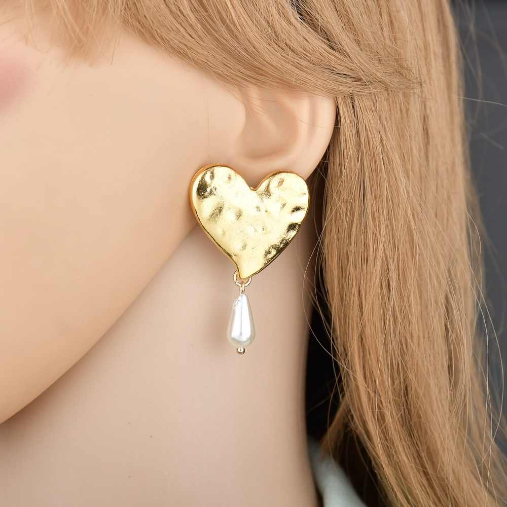 2019 Pearl Pendant Women Drop Earrings Cheap Za Earrings Metal Heart Exaggerated Boho Ladies pendientes Ear Jewelry