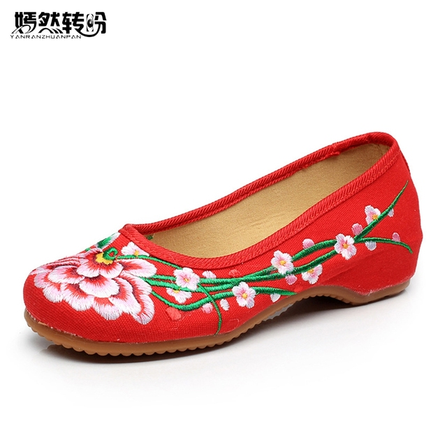 Chinese Shoes Woman Retro Embroidery Cloth Flats Old Beijing Leisure Canvas  Floral Dance Ballets Travel Zapatillas Mujer Casual ac92e71f471e