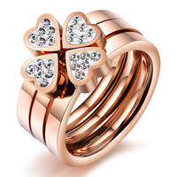 Best Seller 2014 New Fahion Top IP Roes Gold Cubic Zirconia Four Leaf Grass Stainless Steel