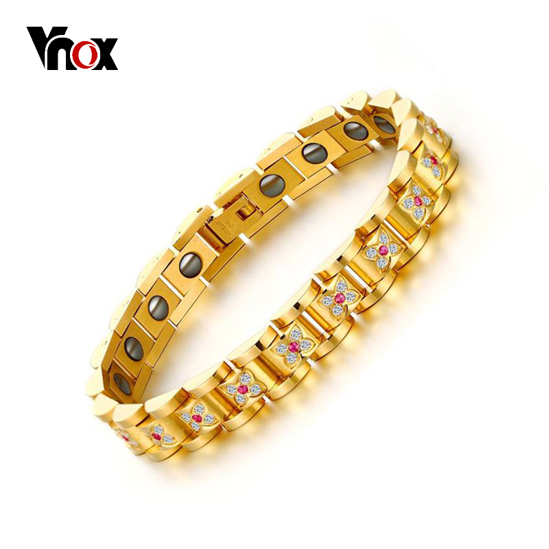 все цены на VNOX Luxury Women Health Bracelet Bangle CZ Stones Folower Shape Magnetic Power Bracelets Chain Jewelry