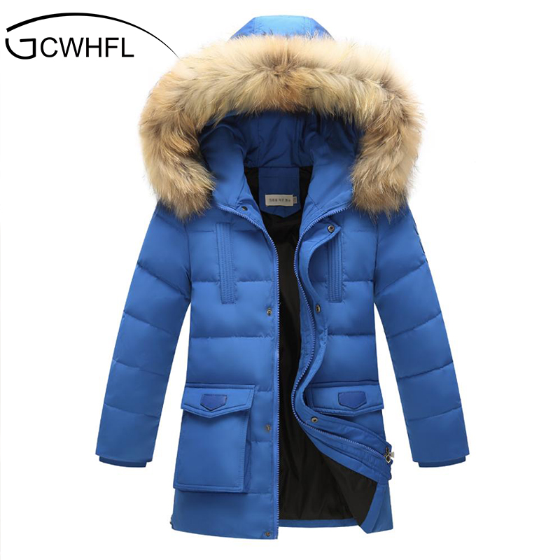 цена на Boys Thick Down Jacket 2018 New Winter New Children Raccoon Fur Warm Coat Clothing Boys Hooded Down Outerwear -20-30Degree
