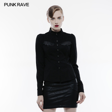 PUNK RAVE Women Formal Official Shirt Punk Handsome Cowboy Jean Vintage Womens Long Sleeve Blouse