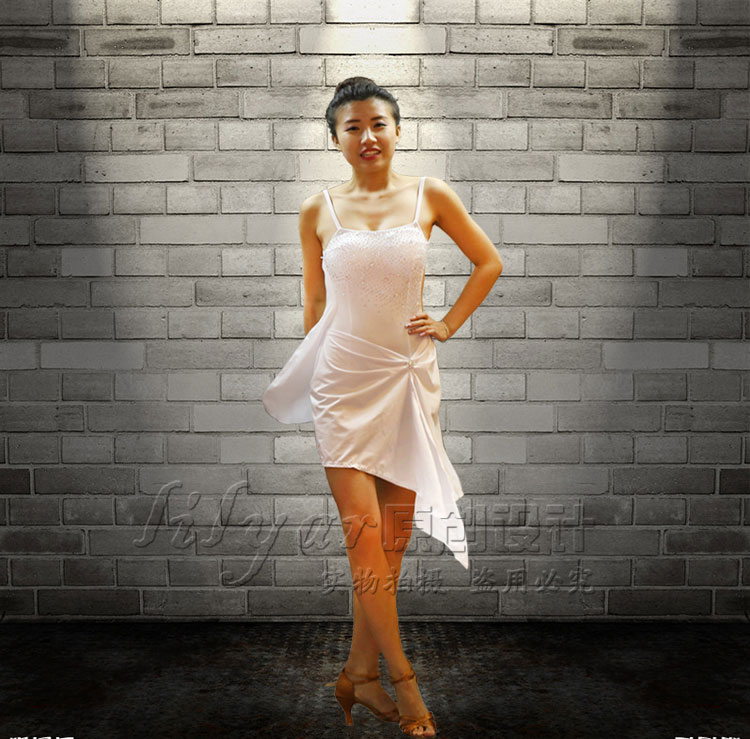3ac620657b88e1 Sexy Lady Latin Dance Dress White Sparkly Rhinestone Fashion Women Adult  Professional Tango Ballroom Dancing Skirts