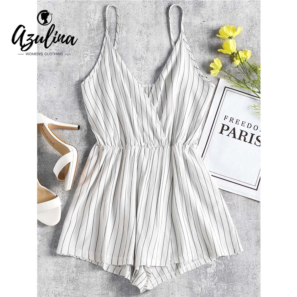 AZULINA Cami Stripes Overlap Playsuit Summer Women Rompers 2018 New Casual Spaghetti Strap Sleeveless Jumpsuits Ladies Overalls ...