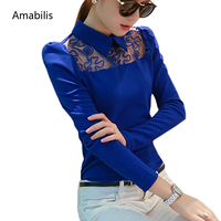 Amabilis 2017 Spring Korean Style Women Long Sleeve Casual Shirt Top Quality Patchwork Lace Chiffon Blouse