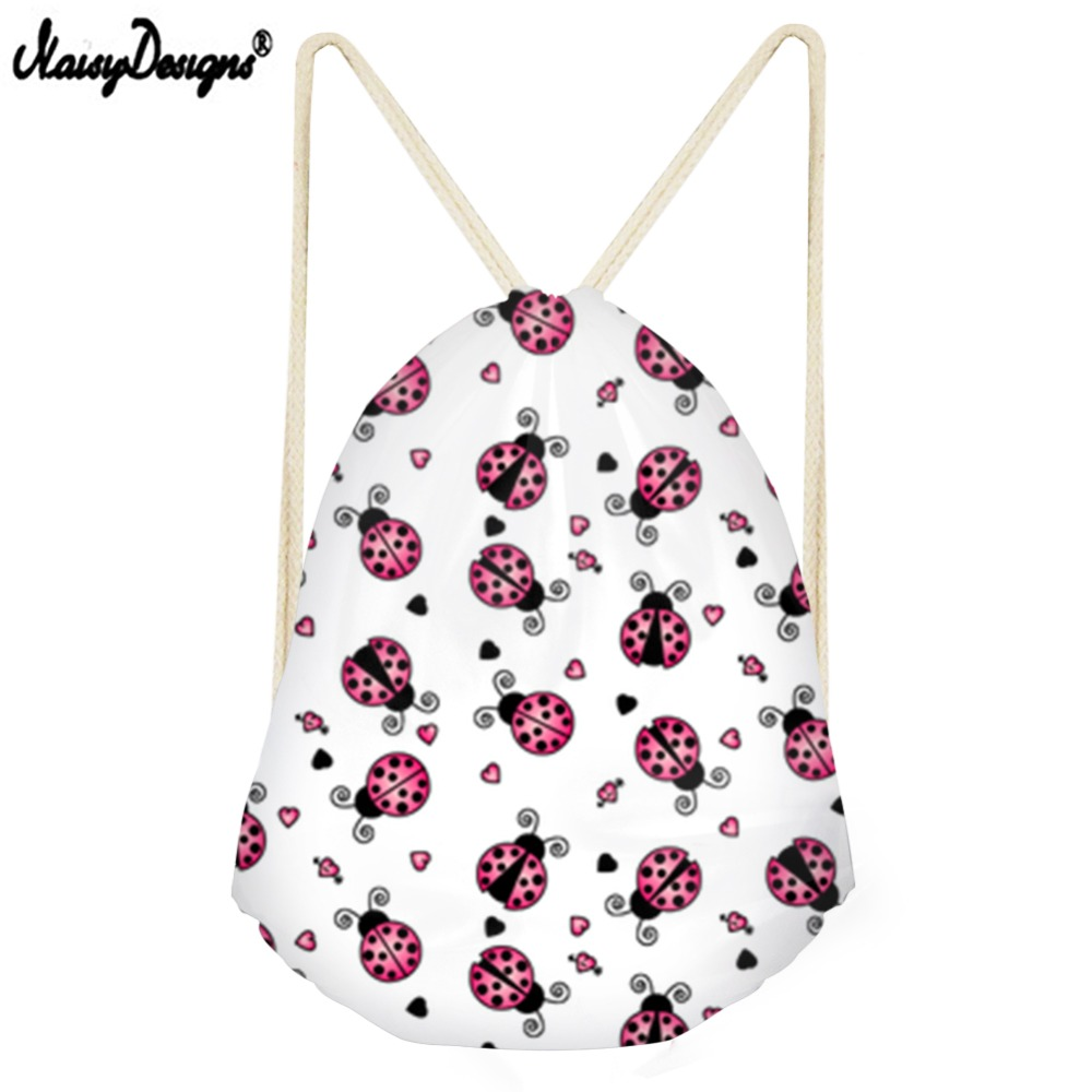 Noisydesigns High Quality Drawstring Bag For Desigual Ladybug Small Children Backpacks Girls Boys Daily Sport Bags Drop Shipping