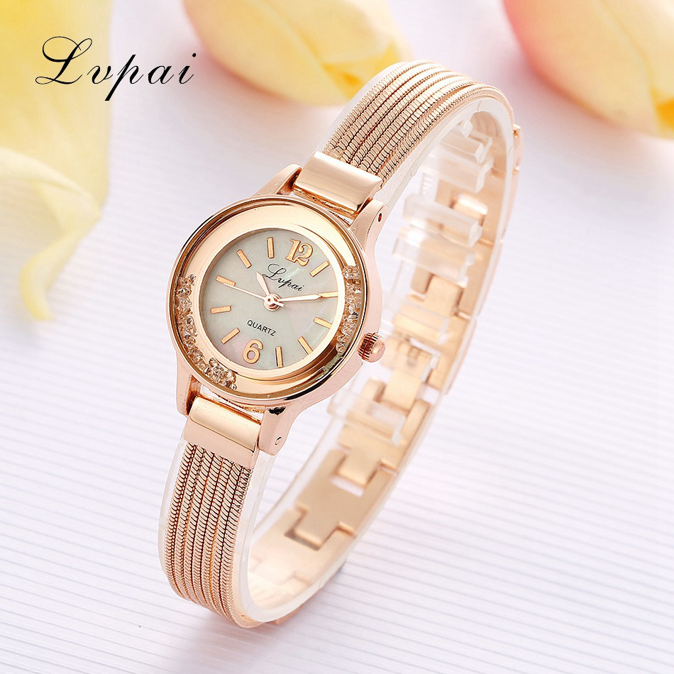 Lvpai Brand Luxury Rose Gold Watches Women Female Fashion Crystal Quartz Wristwatches Gift Stainless Steel Clock Woman Watch jinen women new top quality brand watches japan quartz waterproof rose gold stainless steel watch business luxury female clock