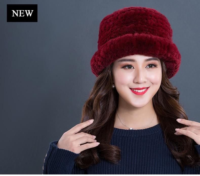 Luxury Natural Fur hats Fur Bucket Hat Russian Real Rex Rabbit Fur Hat Female Solid Women\`s Winter Cap Ladies (2)