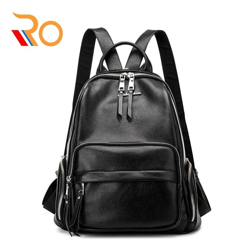 Sac à dos noir femmes en cuir véritable sac à dos femme sacs à dos adolescent sacs d'école Mochila Feminina sac à dos Mochilas
