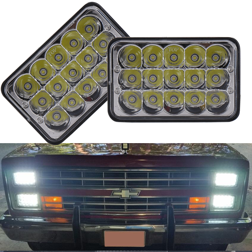 4x Rectangular LED Headlights 4x6 Sealed Beam Square H4 Hi Lo Beam H4656 H4666 H4651 H6545