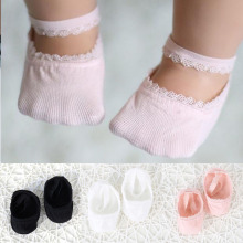 Новые Мягкие хлопковые носки для малышей Нескользящие кружевные носки для маленьких девочек носки-тапочки для маленьких принцесс с резиновой подошвой, Recien Nacido