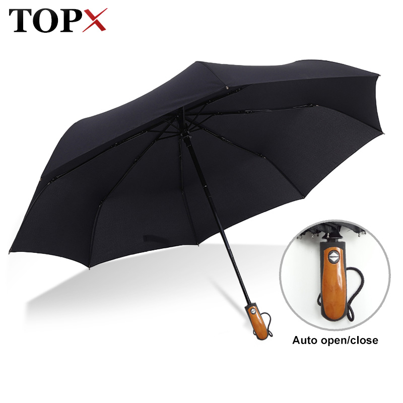 Classic English style Umbrella Men Automatic 8Ribs Strong Windproof 3Folding Umbrella Rain Women Business Male Quality Parasol