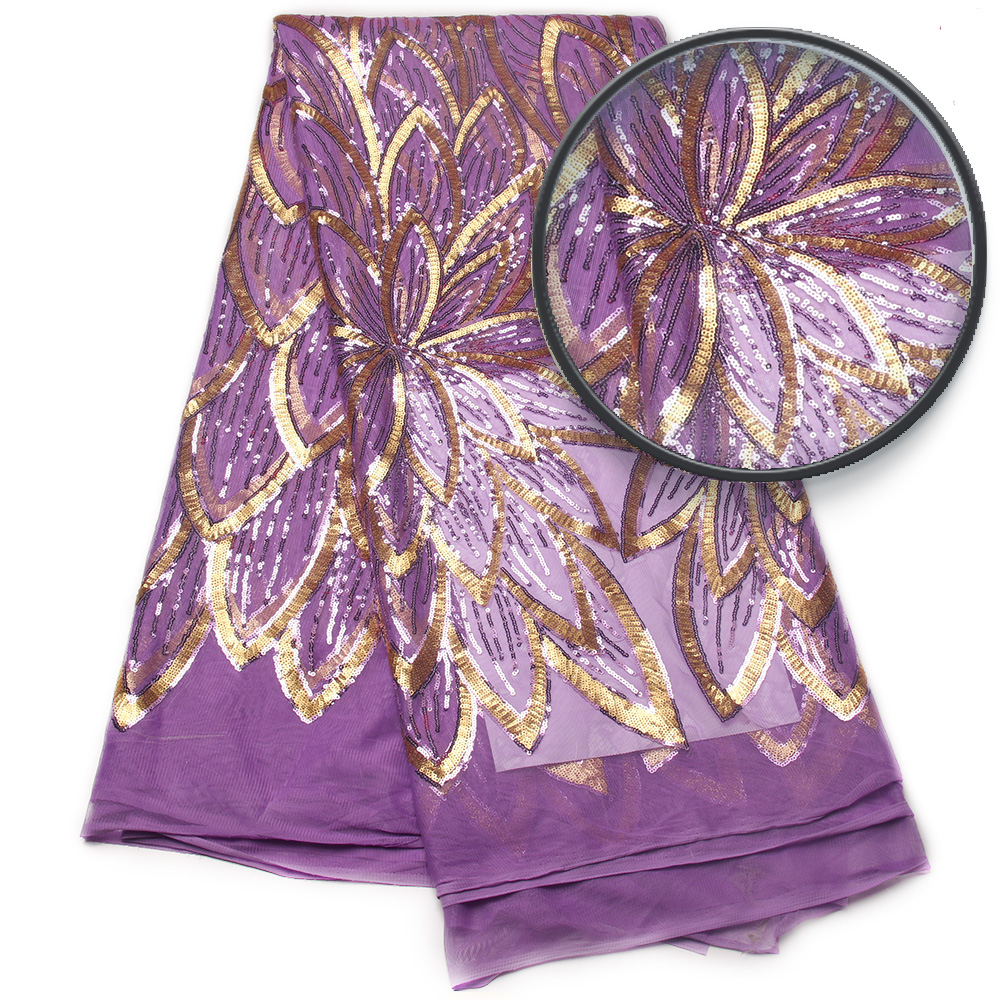 Nuovi arrivi francese maglia di paillettes tessuto rosso sequins africano tessuto del merletto per il vestito da cerimonia nuziale di tulle del merletto del tessuto AMY791B 2-in Pizzo da Casa e giardino su  Gruppo 1
