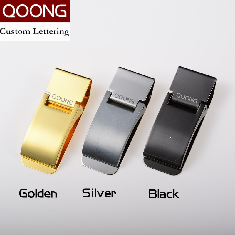 QOONG Custom Engraving Stainless Steel Three Colors Money Clip Holder Slim Pocket Cash ID Credit Card Metal Bill Clips Wallet in Money Clips from Luggage Bags
