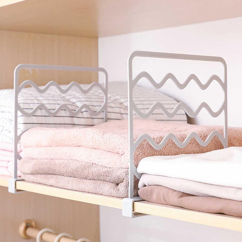 ¡Novedad de 2019! 2 unids/pack, estantería de armario, separadores, estantes de separación, estantería de alambre para ropa