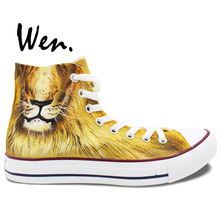 Wen Original Custom Design King of The Jungle Fierce Animal Lion Hand Painted Sneakers Shoes High Top Canvas Skateboard Shoes