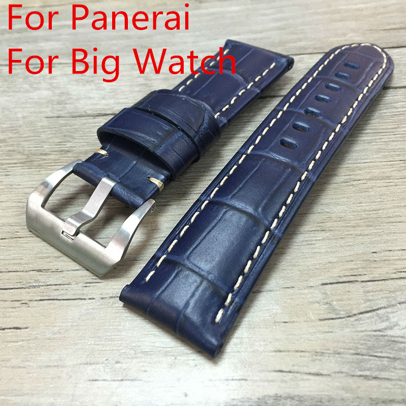 Handmade 22mm 24mm 26mm Blue Leather Strap,Watchbands Mens Rough Strap For PAM ,With original LOGO, Free Shiping lukeni 24mm camo gray green blue yellow silicone rubber strap for panerai pam pam111 watchband bracelet can with or without logo