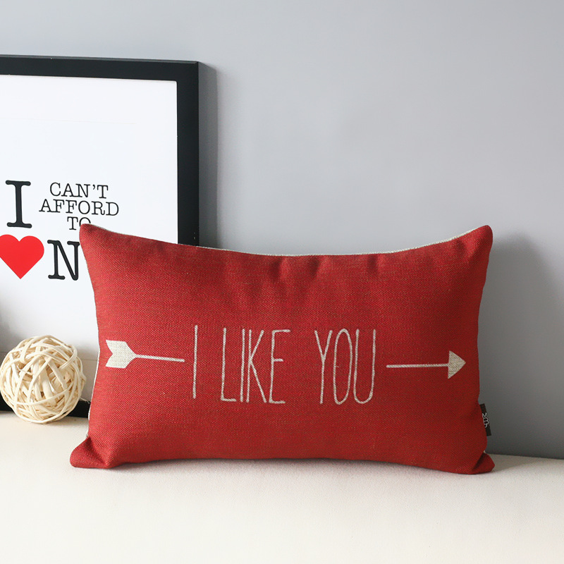 I Like You Cushion Cover Sand Cotton Linen Pillow Case Cool Cushion Covers Sofa Bed Decor