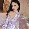 2016 summer 100% cotton princess style women's nightgown white sleepwear vintage pijamas roupao feminino