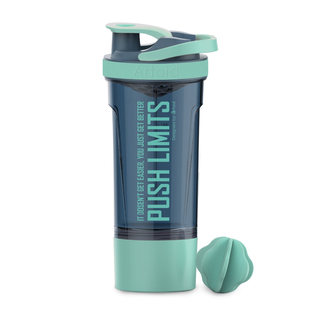 720ml/25oz Motivational Fitness Workout Sports Protein Shaker Water Bottle Whisk and Mix Ball Storage Box Whey BPA Free