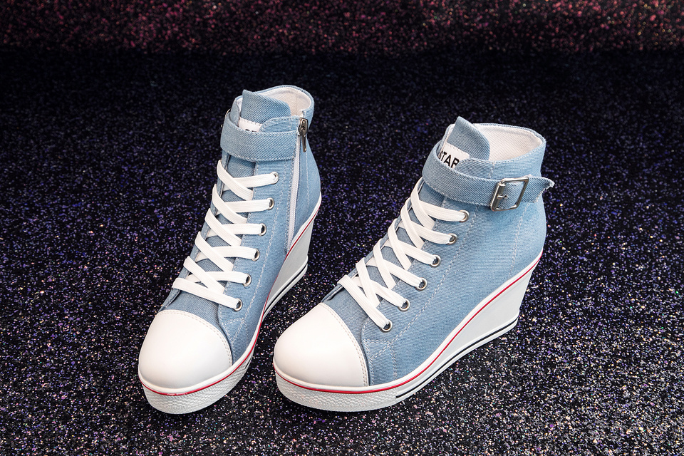 Women High Top Ladies Denim Canvas Sneakers Fashion Sexy lace up shoes