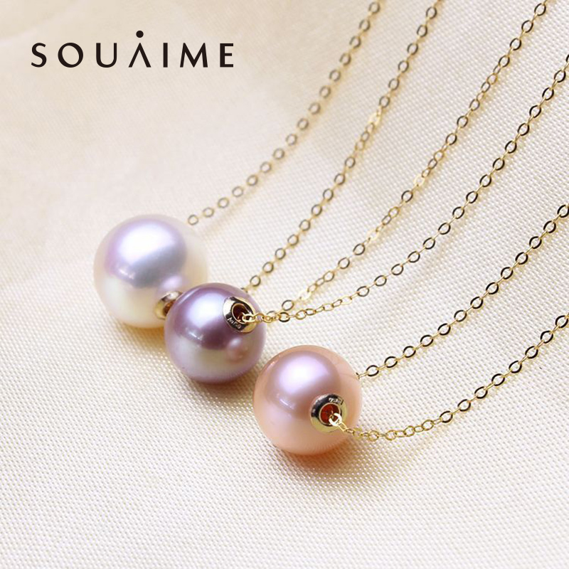 2018 Necklaces Choker Necklace Ketting Tahitian Seawater Pearl 18k 9-10mm Round Women's Boutique Jewelry Mother's Day Gift yoursfs heart necklace for mother s day with round austria crystal gift 18k white gold plated