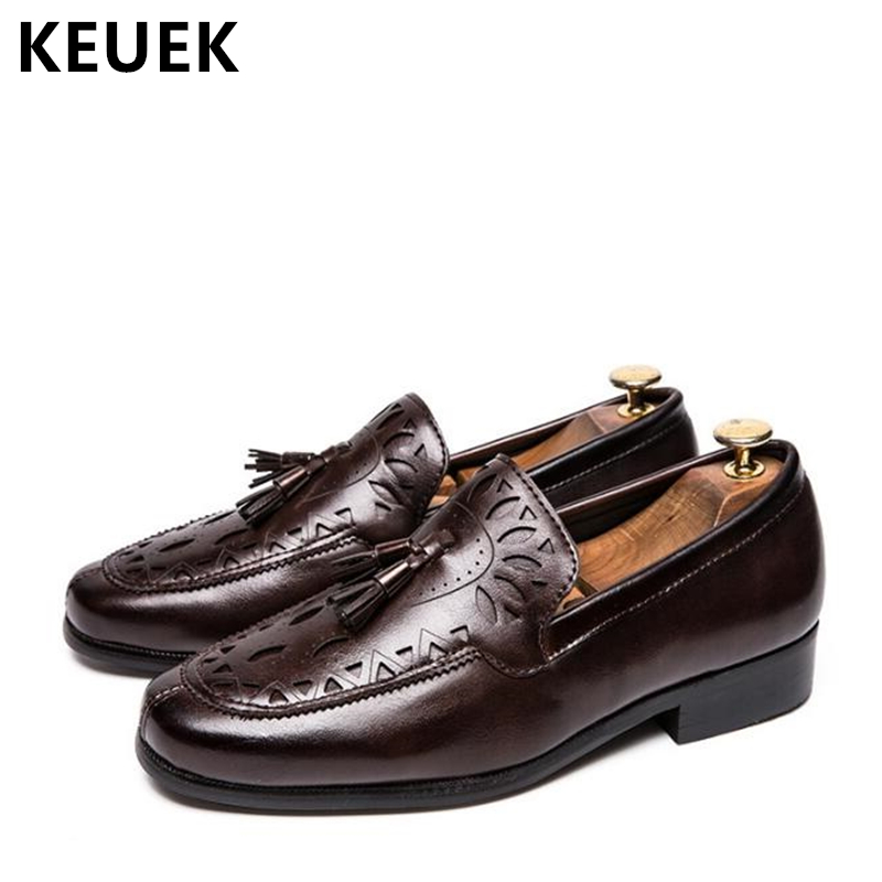 New Arrival Men Casual Leather shoes British style Luxury Business Dress shoes Fashion Tassel Slip-On Flats Male Loafers 02A fashion design new hot men flat gentleman shoes luxury suede tassel loafers slip on business dress shoes party wedding shoes man