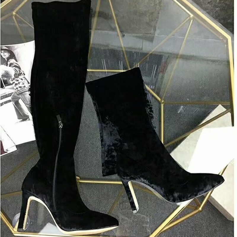 Black Vetvel Over The Knee Boots Woman Pointed Toe Suede High Heel Long Boots Women Fashion Slim Stretch Boots zapatos de mujer jawakye black wool knit sock boots women pointed toe rhinestone heel stretch long boots woman fashion over the knee boots