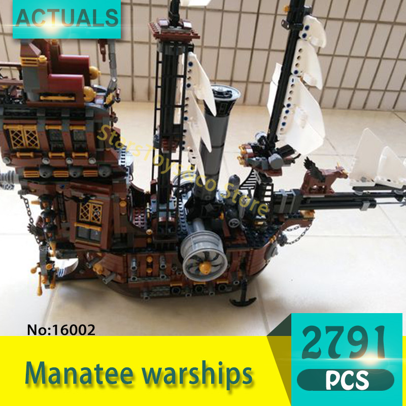 Lepin 16002 2791Pcs Movie Series Manatee warships Model Building Blocks Bricks Toys For Children Pirate Caribbean Gift lepin 16002 pirate ship metal beard s sea cow model building kit block 2791pcs bricks compatible with legoe caribbean 70810