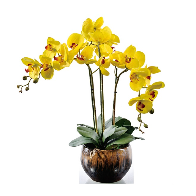Flower Arrangment  Yellow Orchids With Leaves Real Touch Flower Wedding Party Fake Flower Decorative Event Free Shipping