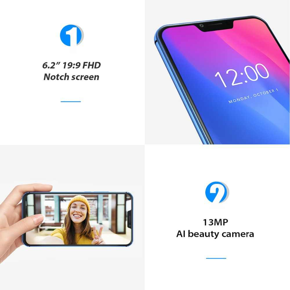 """Vernee M8 Pro encoche écran Android 8.1 téléphone portable 6.2 """"Octa Core AI caméra 6GB + 64GB 4100mAh sans fil Charge NFC 4G Smartphone"""