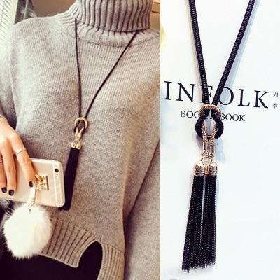 2016 новое поступление женский кулон Цепочки и ожерелья кисточкой длинный зимний свитер цепи Цепочки и ожерелья оптовые продажи