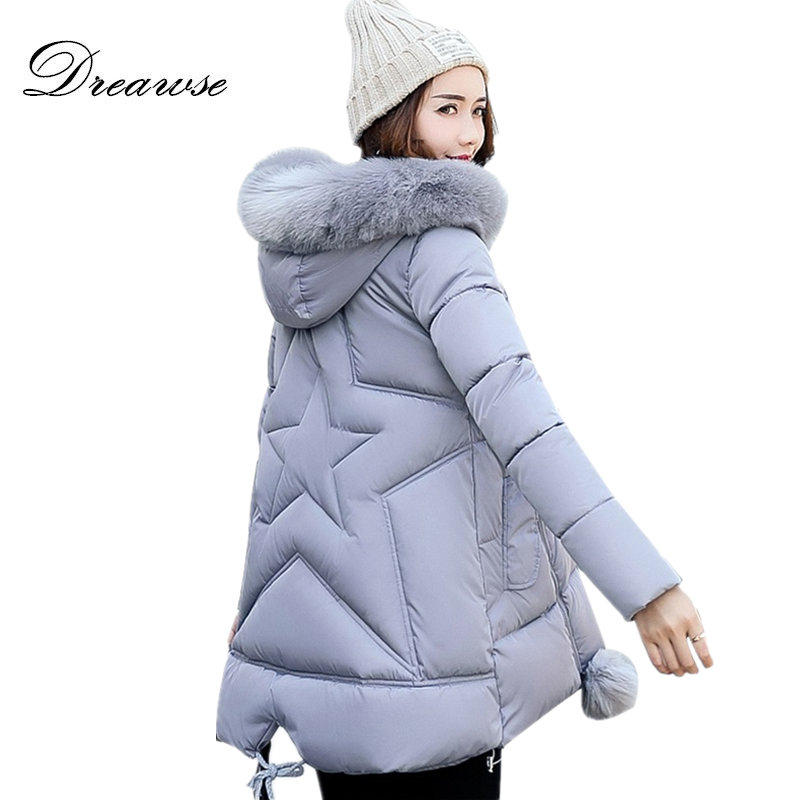 Dreawse Women Cotton Padded Winter Thick Jackets Fake Fur A-Line Coats Warm Plus Size 5XL Hooded   Parkas   Manteau Femme MZ1541