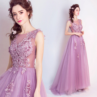 2017 new arrival stock maternity plus size bridal gown pregnant evening dress light Purple Rose sexy a line pearls long 5950