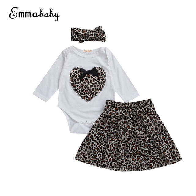 85dbf45c2f1 Emmababy 2017 Fashion Spring Boutique Outfits Baby clothes Girls Sets Cute leopard  Print Long Sleeve Tops Bow Tutu Skirts suits