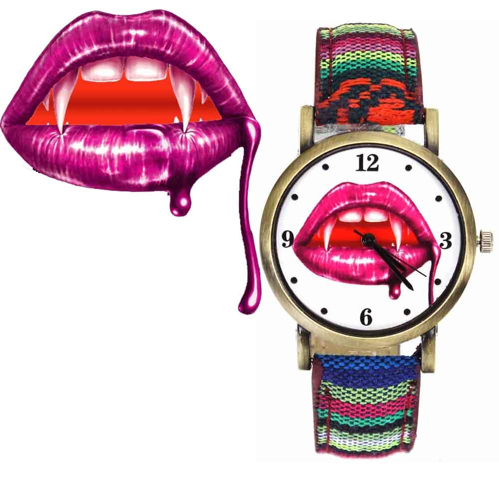 Vampire Slayer Teeth Fangs Bites Watches Men Women Military Camouflage Belt Denim Canvas Band Fashion Sport Quartz Wrist Watch