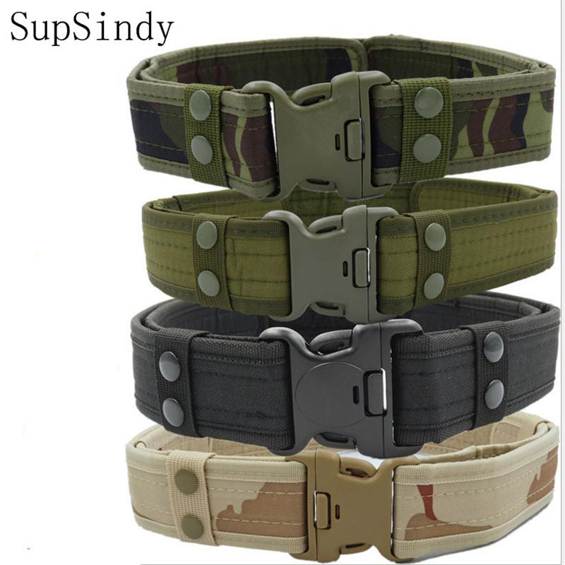 SupSindy 2018 New Army Style Combat   Belts   Quick Release Tactical   Belt   Fashion Men Canvas Waistband Outdoor Hunting 5Colors 125cm